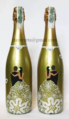 Как раскрасить бутылку шампанского на свадьбу своими руками
